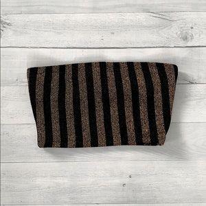 Fashion Nova Black & Gold Striped Bandeau Top XS